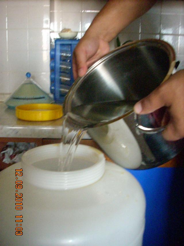 Riempimento del fermentatore con acqua fredda